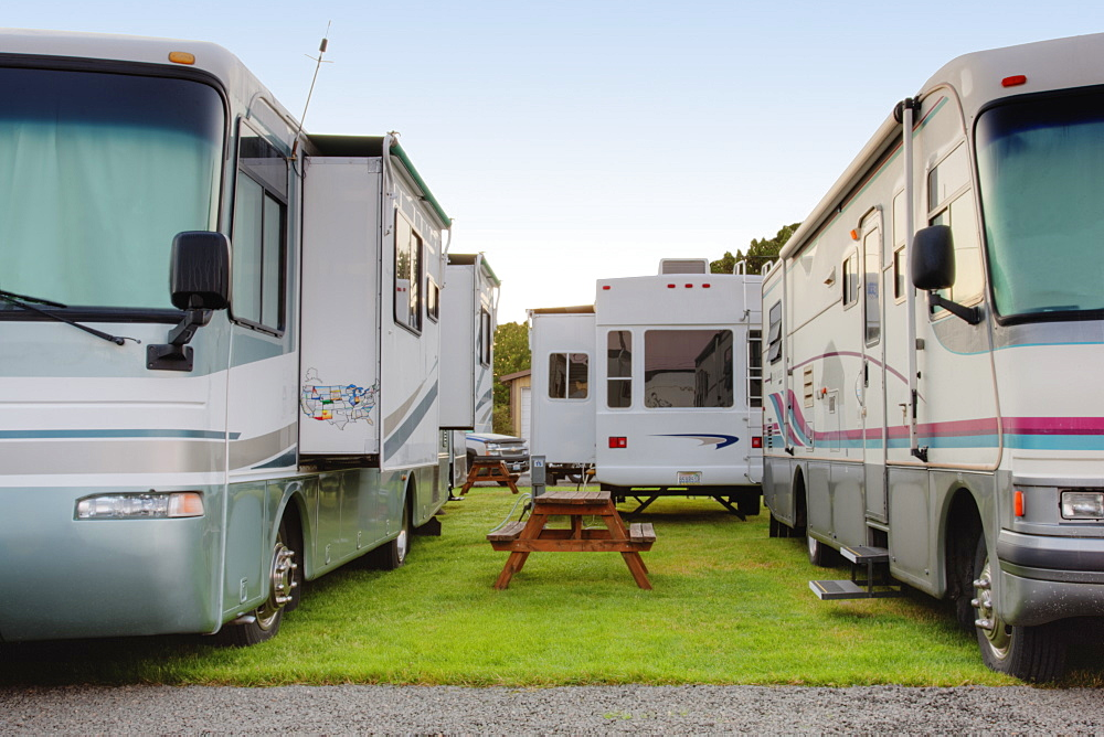 RVs in park, Long Beach, Washington, USA