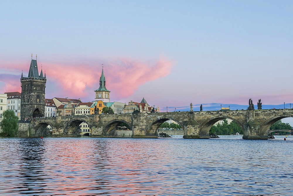 Charles Bridge and city at sunset, Prague, Czech Republic, Prague, Central Bohemia, Czech Republic