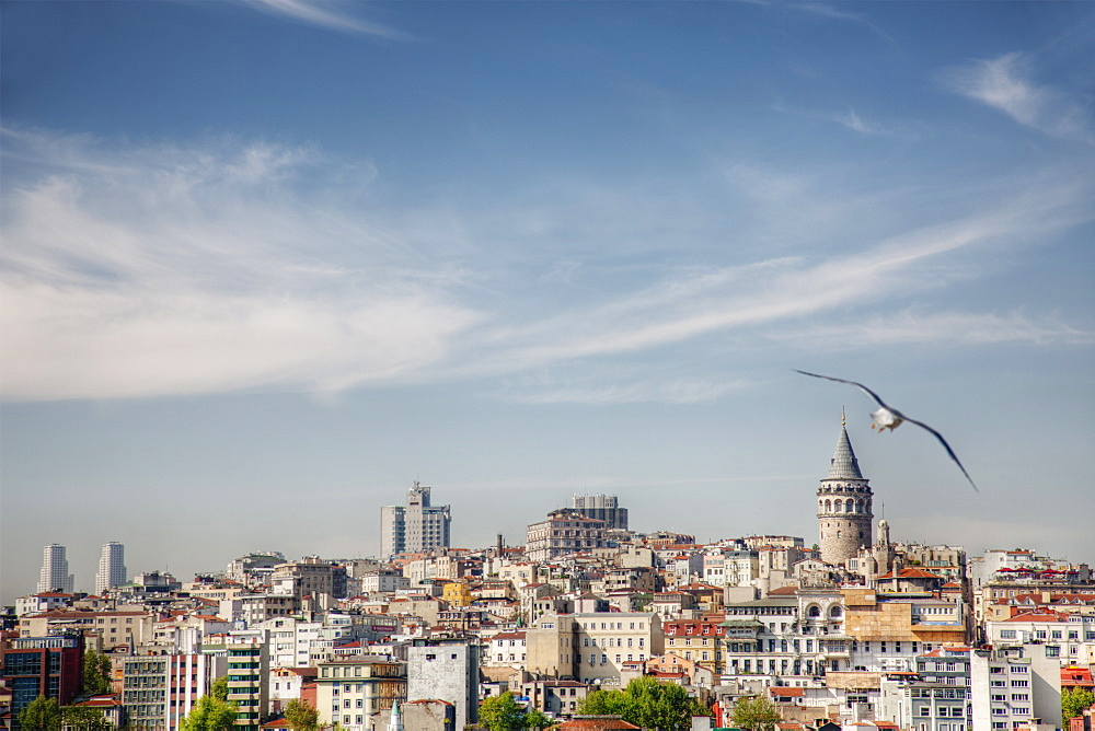 Istanbul city skyline under blue sky, Turkey
