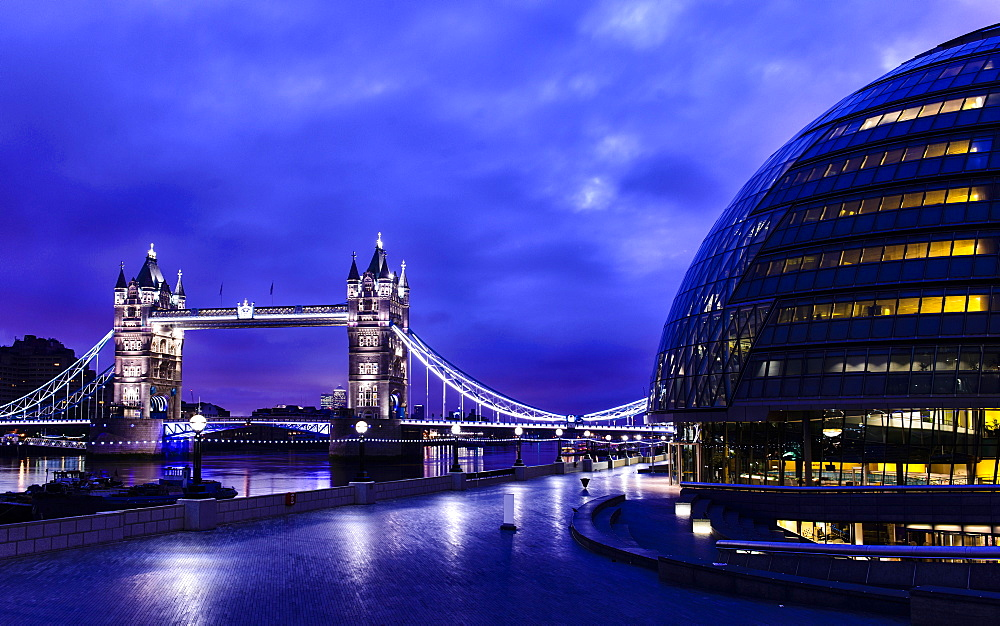 Tower Bridge lit up at night, London, United Kingdom
