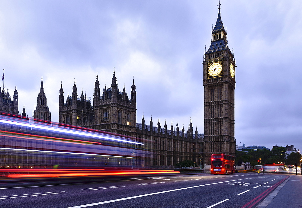 Time lapse view of bus passing Houses of Parliament, London, United Kingdom