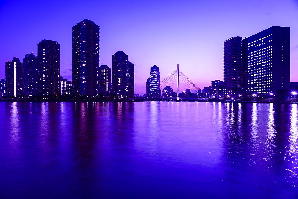 Silhouette of Tokyo skyline lit up at night, Koto, Tokyo, Japan
