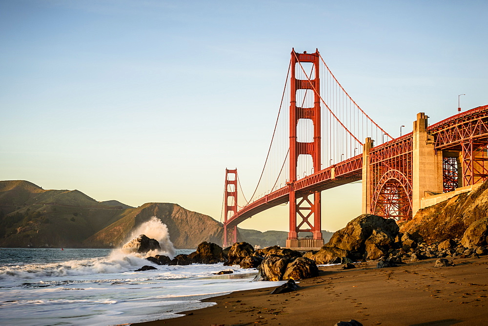 View of Golden Gate Bridge from beach, San Francisco, California, United States