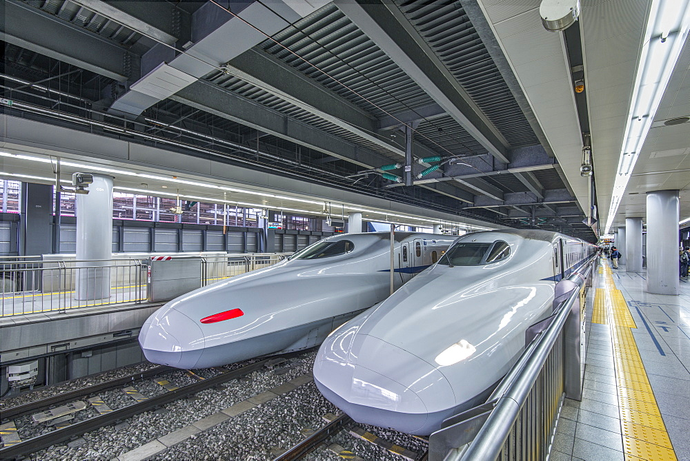 High speed trains in station, Tokyo, Japan