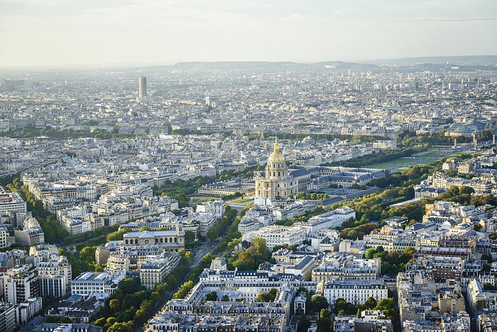 Aerial view of Paris cityscape, Paris, Ile de France, France