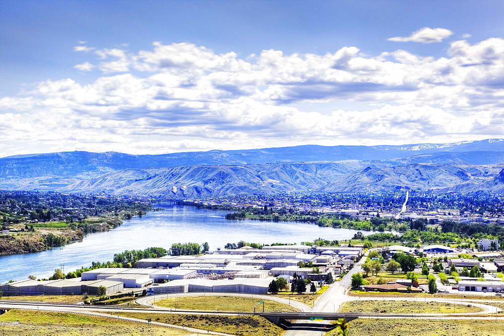 Wenatchee cityscape and mountain landscape, Washington, United States