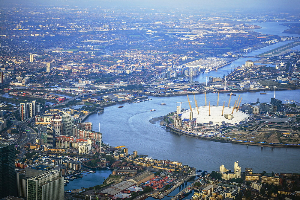 Aerial view of London cityscape and river, England - 1174-6157