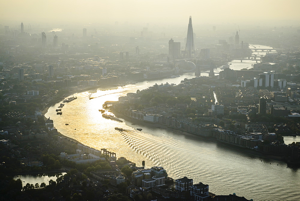 Aerial view of London cityscape and river, England - 1174-6161