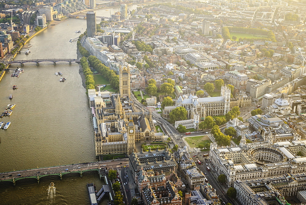 Aerial view of London cityscape and river, England - 1174-6167