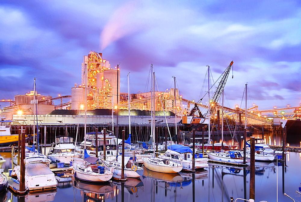 Yachts docked in harbor under illuminated city skyline, Seattle, Washington, United States