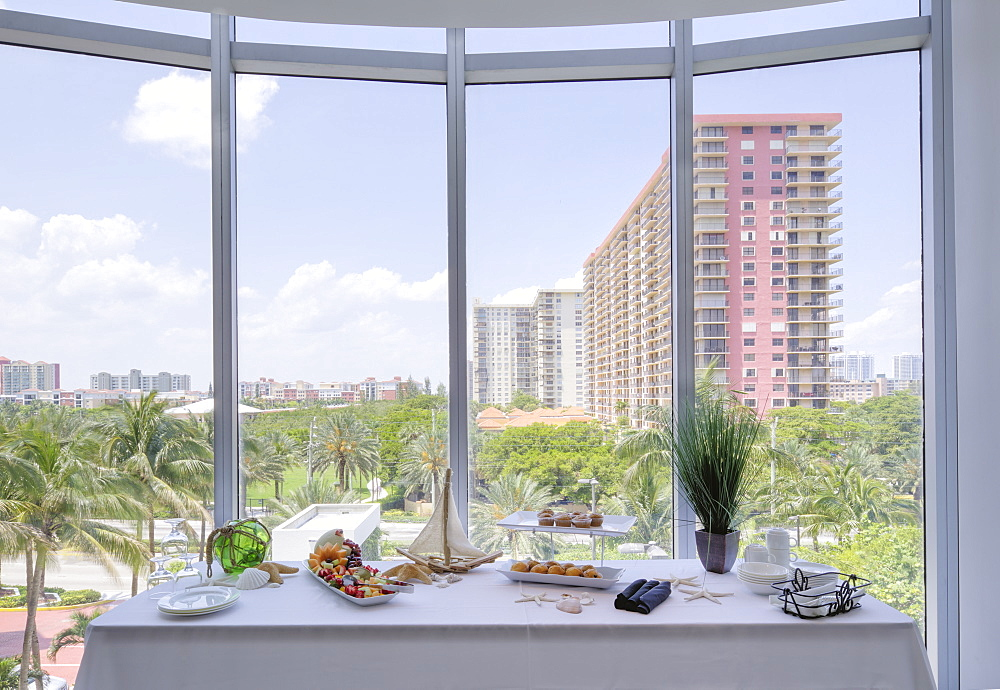 Food table in banquet room, Miami, Florida, USA
