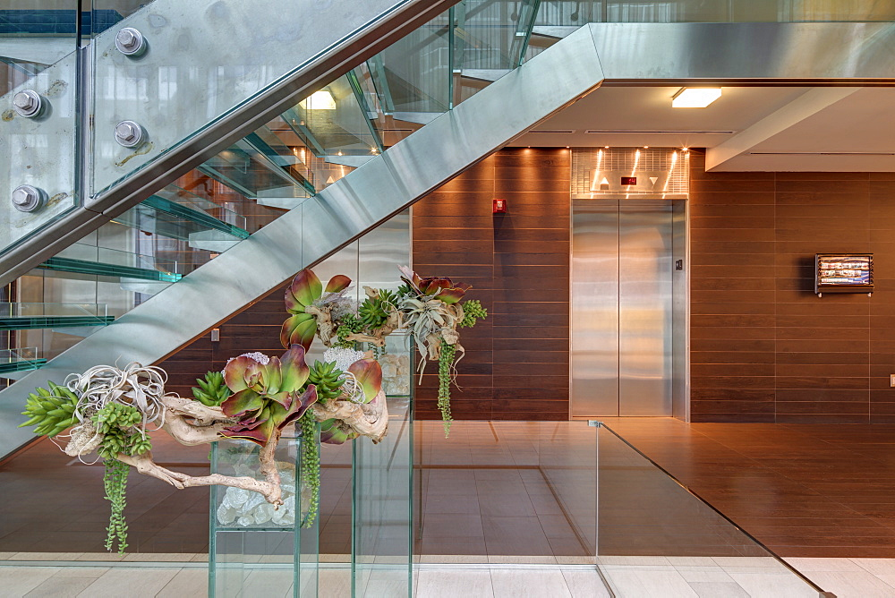 Glass staircase and elevators in hotel lobby, Miami, Florida, USA