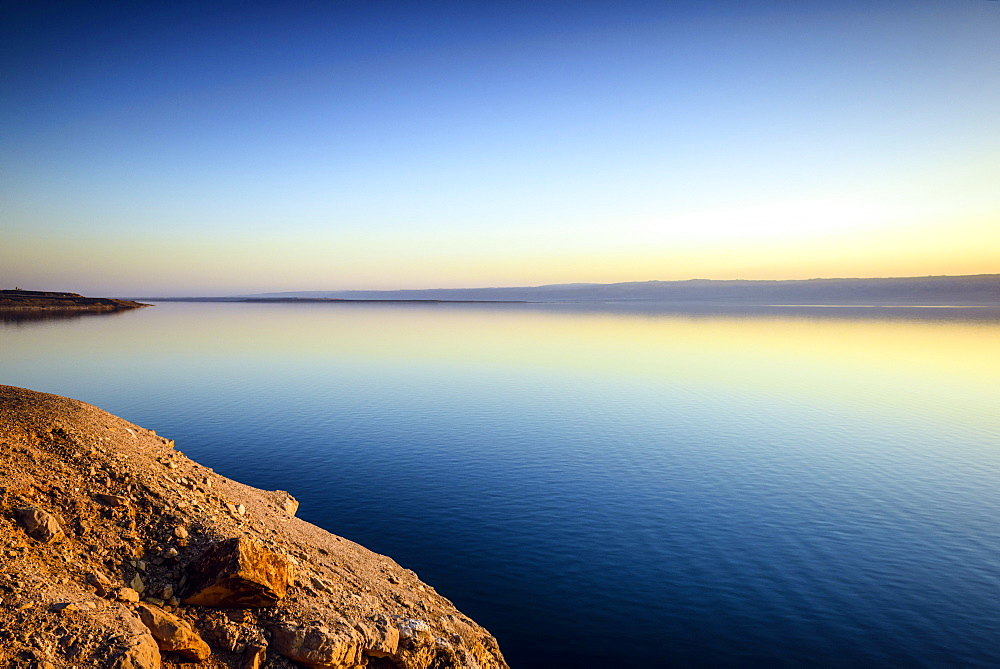Dead Sea reflecting sunset sky, Al Karak, Jordan, Dead Sea, Al Karak, Jordan