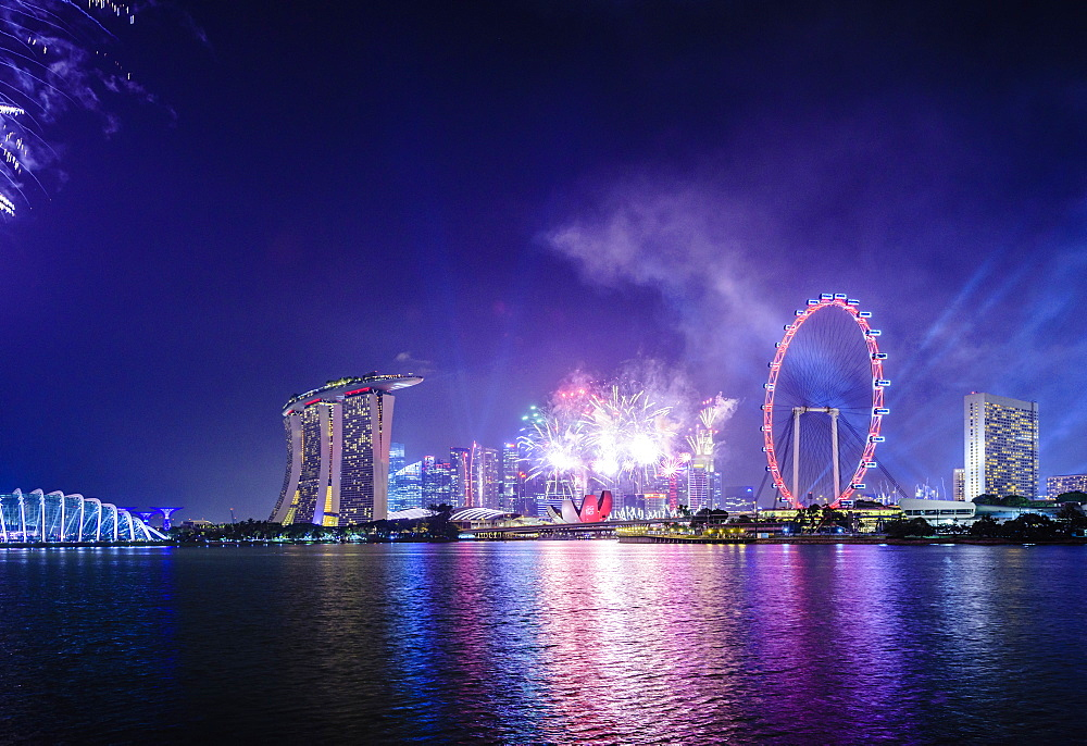 Fireworks over Singapore city skyline, Singapore, Singapore, Republic of Singapore