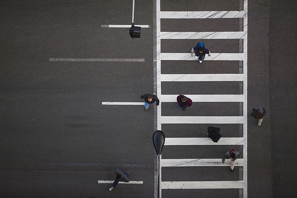 High angle view of pedestrians crossing street, Chicago, Illinois, USA