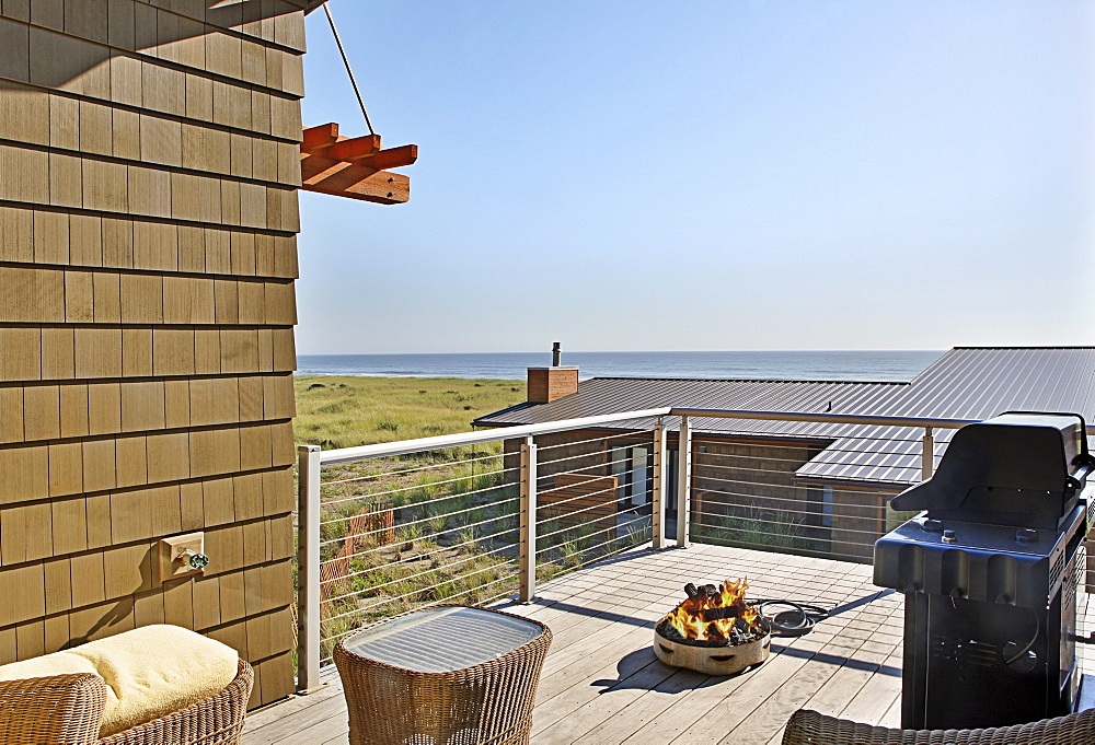 Grill and patio with ocean view, Westport, Washington, USA