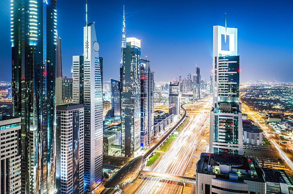 Aerial view of Dubai cityscape, United Arab Emirates, Dubai, United Arab Emirates