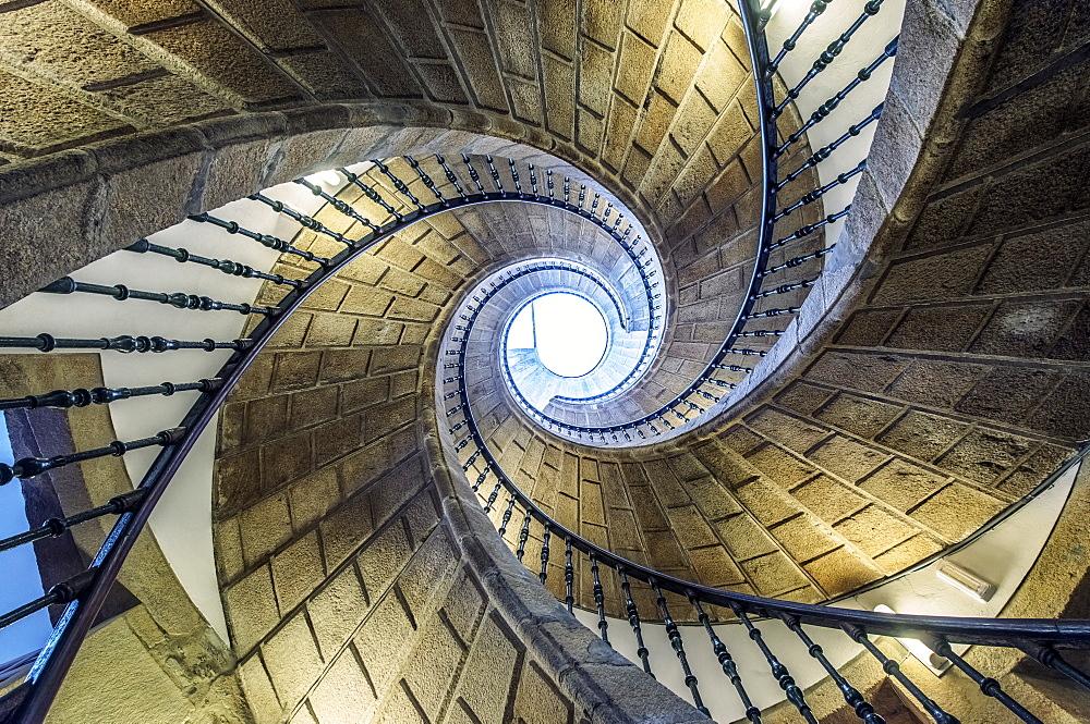 Low angle view of spiral staircase, Santiago de Compostela, A Coruna, Spain