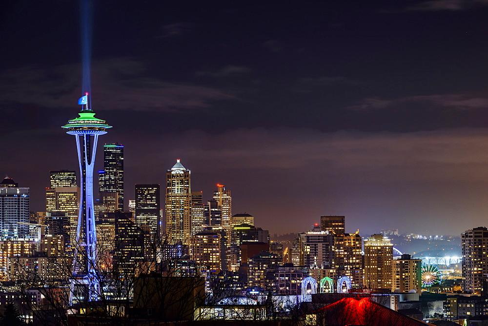 Illuminated cityscape, Seattle, Washington, United States, Seattle, Washington, USA