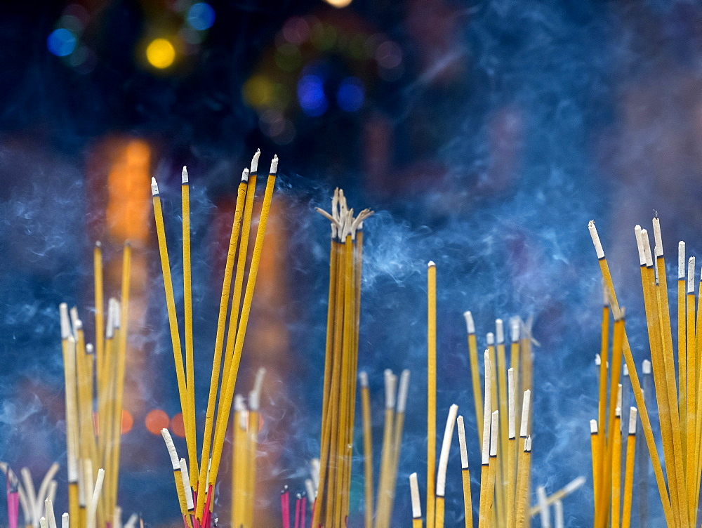 Close up of incense sticks burning, Siem Reap, Siem Reap, Cambodia