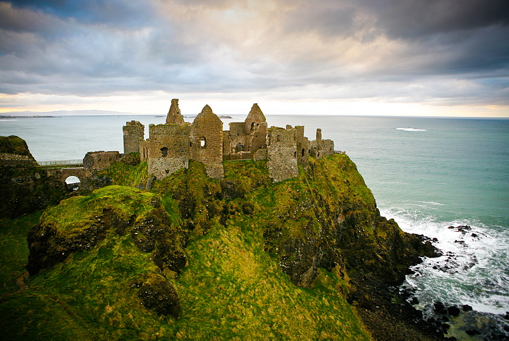 Castle ruins on cliff at ocean, Bushmills, Antrim, Ireland