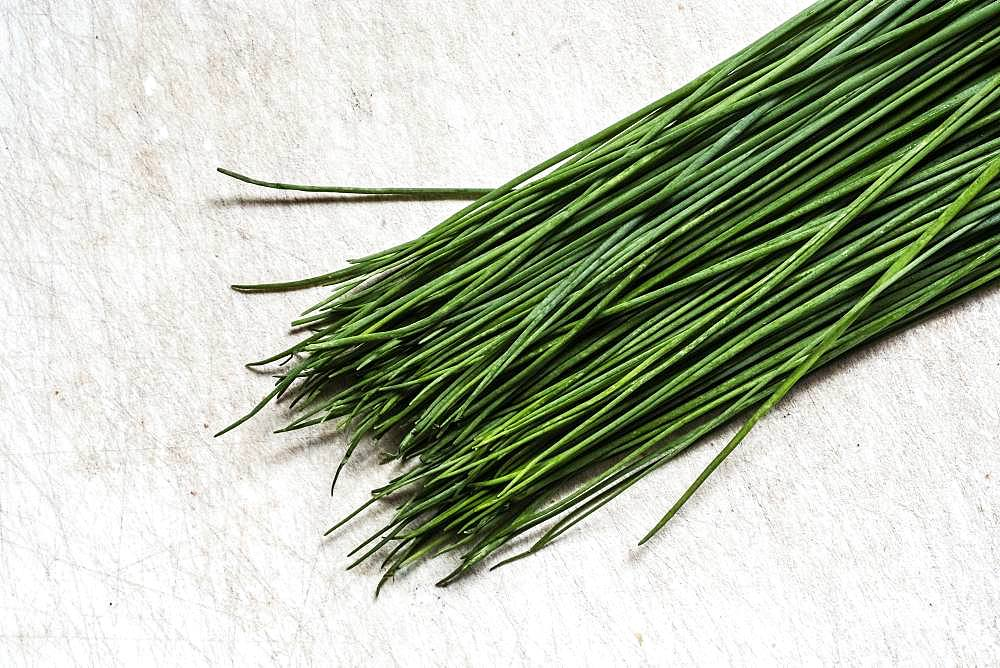 High angle close up of a bunch of fresh chives on white background