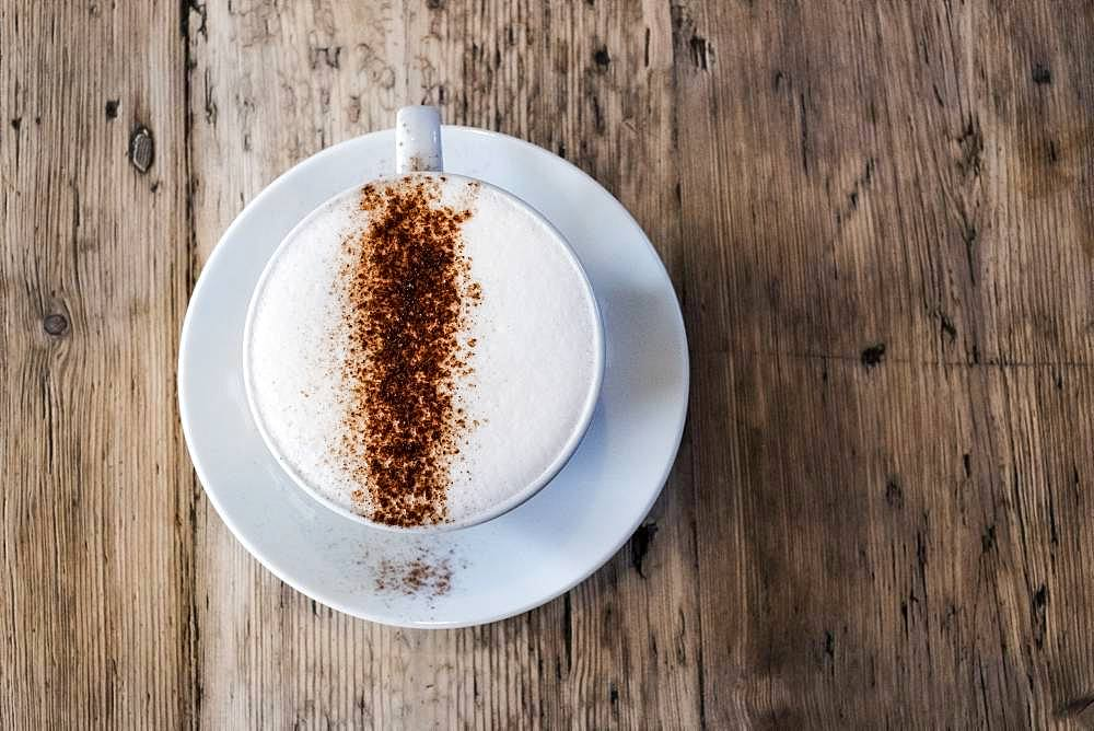 A cup of coffee in a cafe, a cappuccino with frothy top and sprinkled chocolate powder