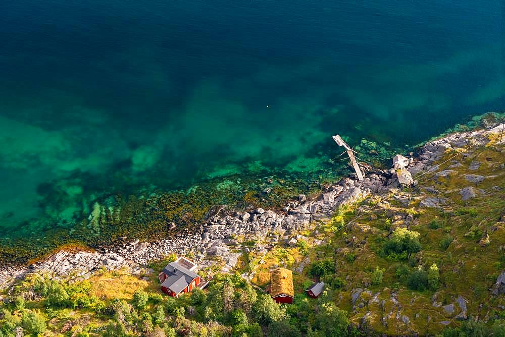 Aerial view over colourful sea & house, Henningsvaer, Austvagoy, Nordland, Lofoten Islands, Norway