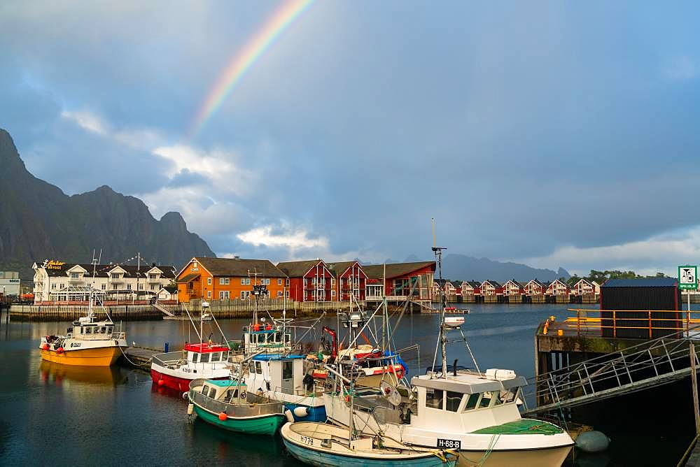 Boats in harbour and rainbow at Svolvaer, Nordland, Austvagoy, Lofoten Islands, Norway