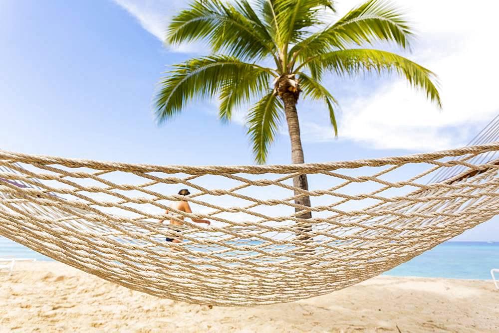 Hammock on a sandy beach, on a tropical island , Grand Cayman, Cayman Islands