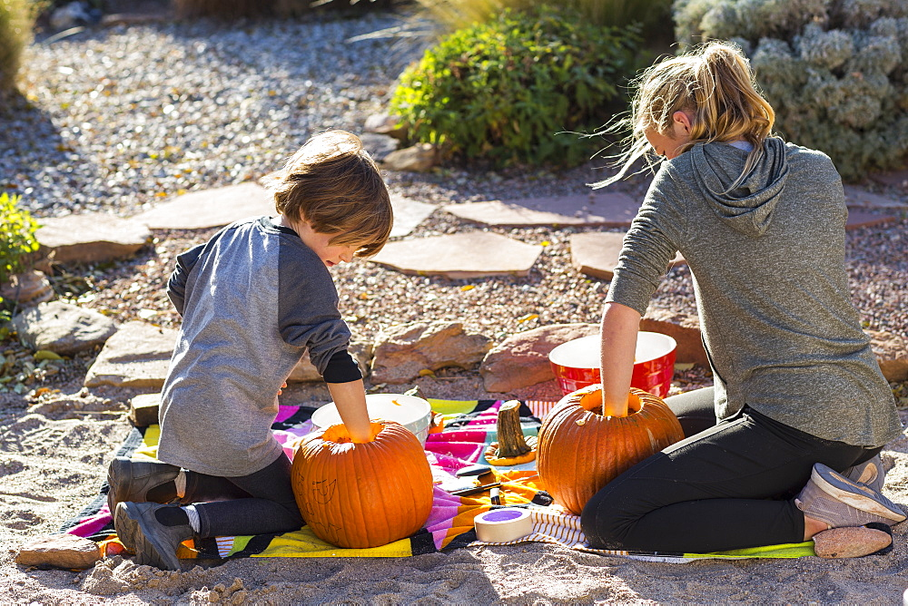 A teenage girl and her brother carving pumpkins at Halloween