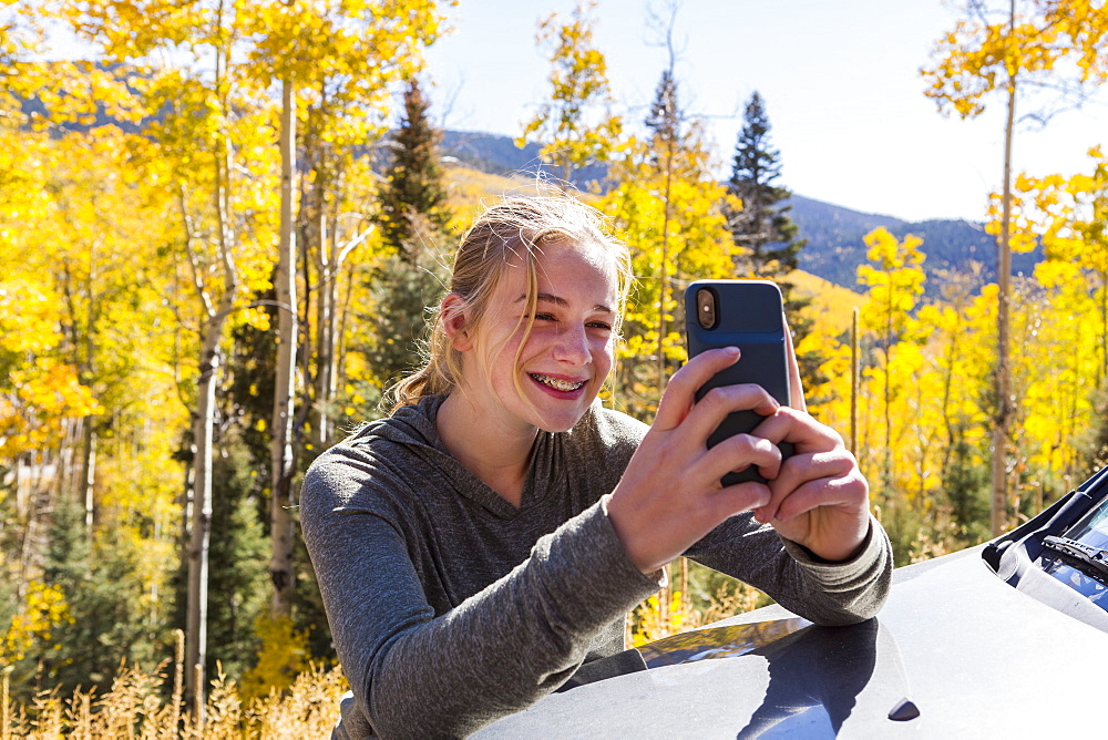 13 year old girl taking pictures with her smart phone, looking at autumn aspen trees - 1174-7113