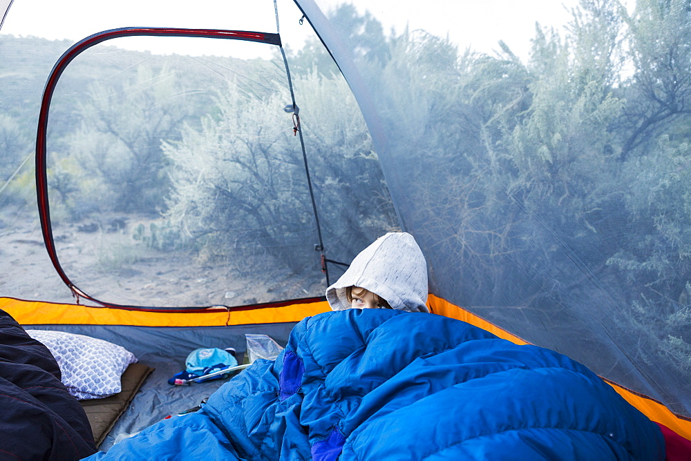 Six yera old boy waking up in tent - 1174-7123