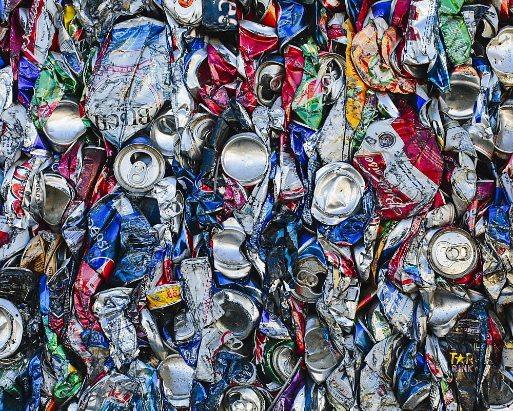 Mass of aluminium cans being processed at a recycling plant, Recycling facility, California, USA - 1174-728
