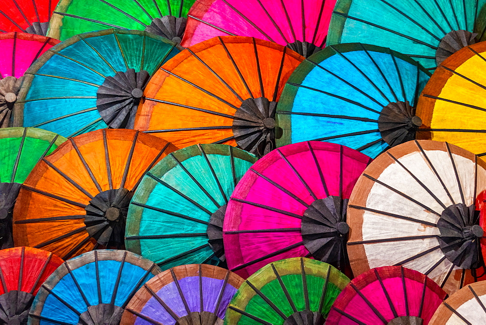 Colorful Umbrellas At Street Market In Luang Prabang, Laos, Laos