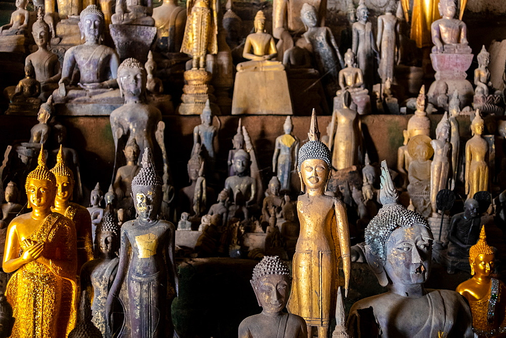 Collection of Buddha Statues Inside Pak Ou Caves, Luang Prabang In Laos, Laos