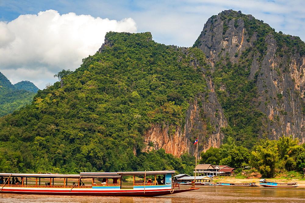 Mekong River near Pak Ou Caves, Luang Prabang Laos, Mekong River, Laos