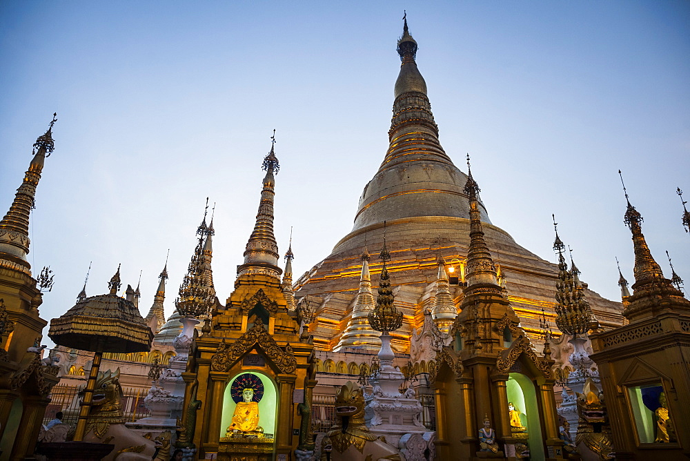 Exterior view of Buddhist pagoda with gilded stupa, Myanmar