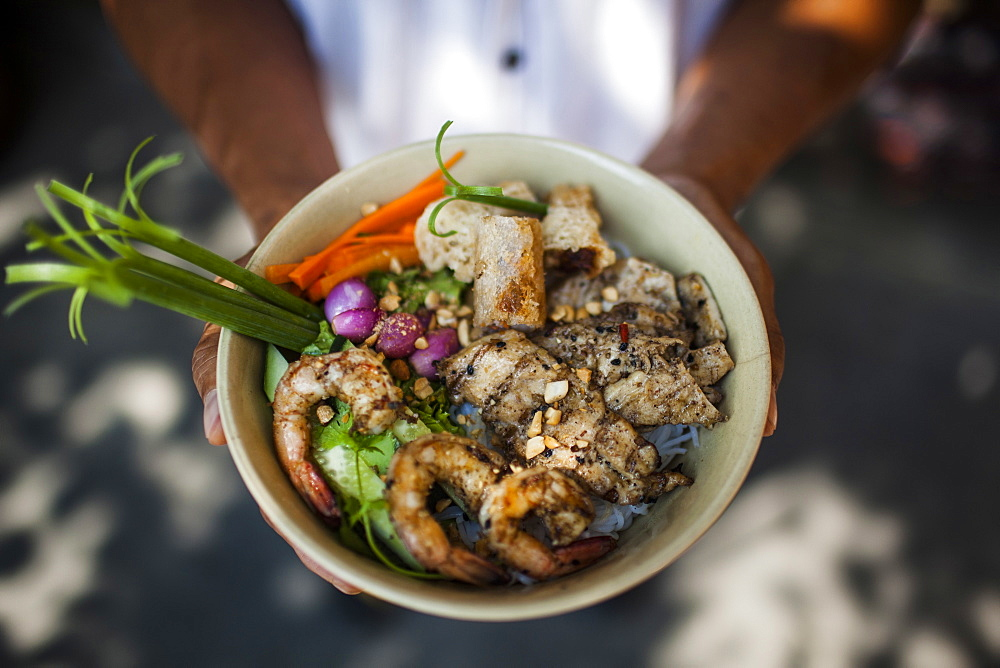 High angle close up of person holding bowl with rice noodles with grilled pork, shrimp, and fish spring rolls, Vietnam