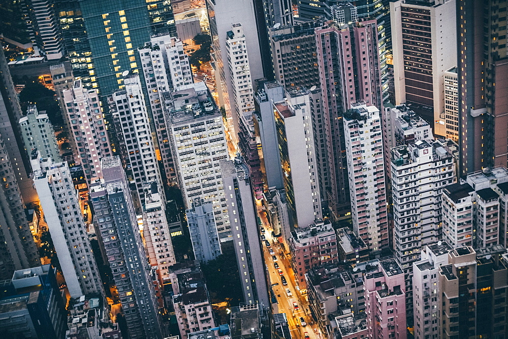 High angle view over dense cityscape with tall skyscrapers, China, Hong Kong