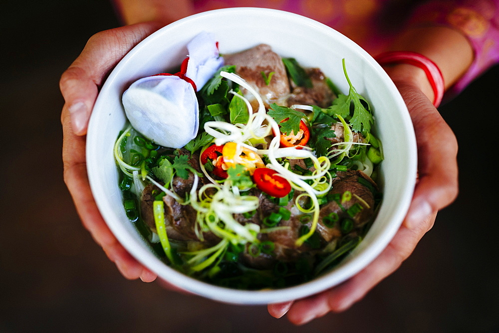 High angle close up of person holding bowl of beef pho, Vietnam