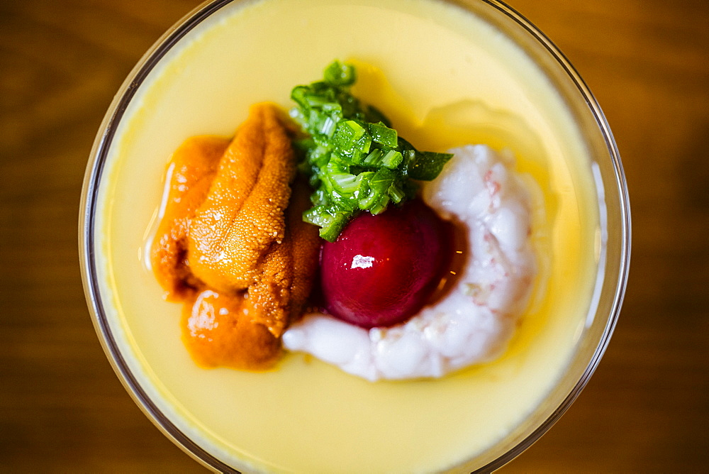 High angle close up of Uni chawanmushi, a chilled egg custard, Japan