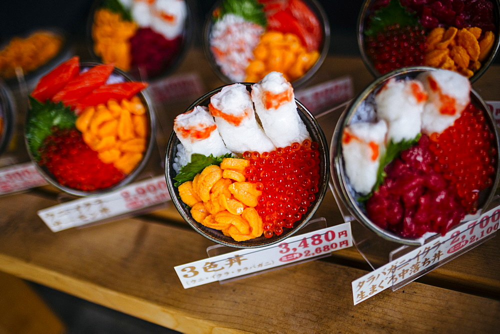 High angle close up of plastic bowls of Japanese food on display outside of a restaurant, Japan