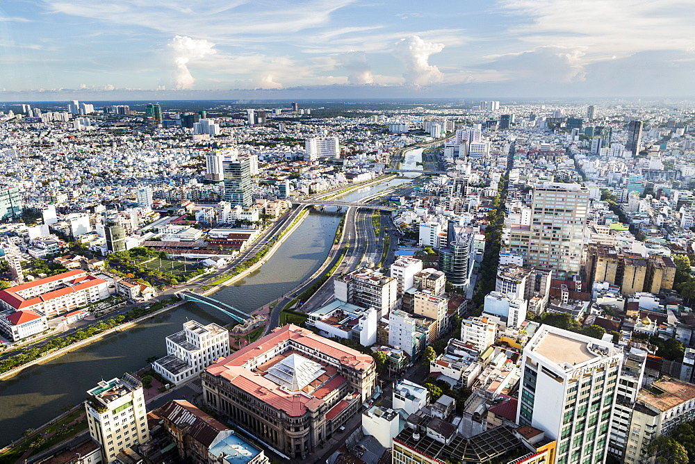 High angle view over river running through a city, Vietnam