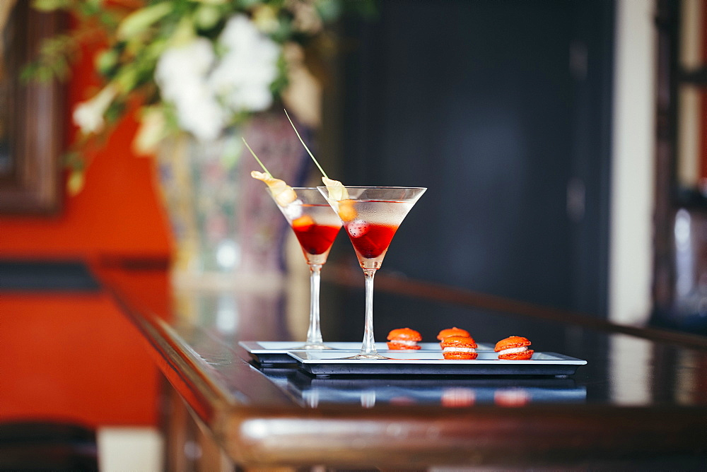 Close up of two cocktails on a tray, Vietnam