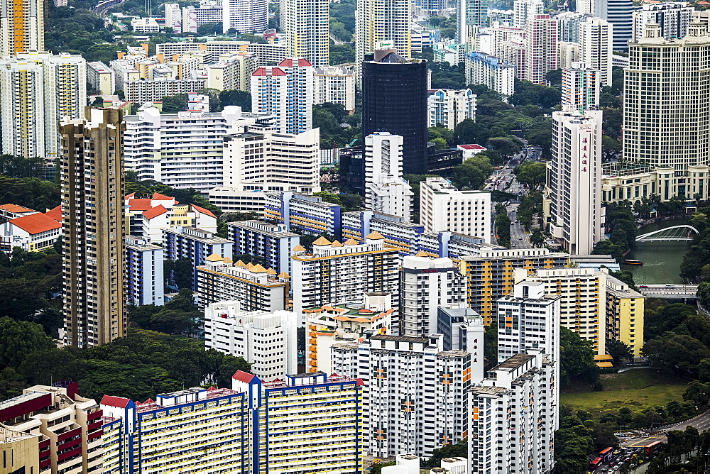 High angle view of cityscape with tall skyscrapers, Singapore