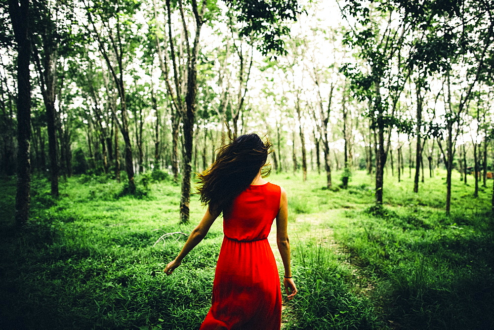 Rear view of young woman wearing red dress running in a forest, Thailand