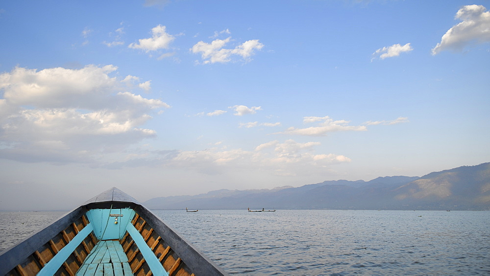 Bow of a traditional fishing boat on a lake, Lake Inle, Myanmar