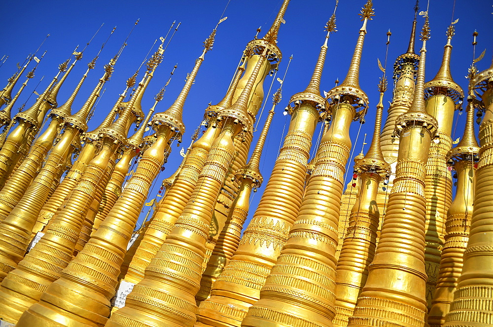 Golden stupas of Buddhist temple Shwe Inn Thein Paya, Lake Inle, Myanmar, Lake Inle, Myanmar