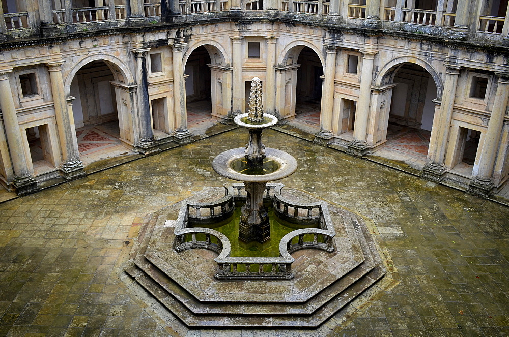 High angle view of fountain at the main cloister of the monastery in Tomar, Portugal, Tomar, Portugal